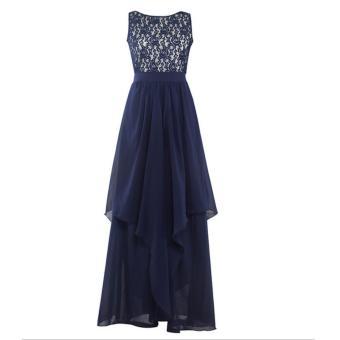 Long Chiffon Bridesmaid Dress V-back Evening Gown Prom Party DressDark Blue - intl - 5