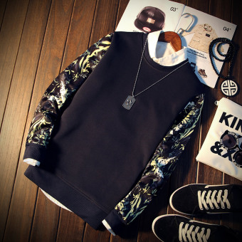 Long Floral Sleeve Men Pullover Sweatshirt (Navy Blue) - Intl