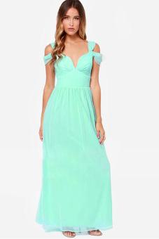 Long Maxi Chiffon Dress (Green)