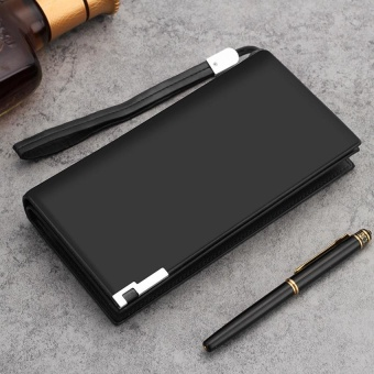 Long Men's Leather Wallet with Zipper Men's Cow Leather Clutch Bag Classic Checkbook Wallet Black - intl
