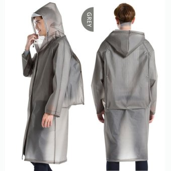 Long Raincoat EVA Thick Universal Poncho Waterproof Hiking Tour Hooded Rain Coat With Schoolbag Position Grey - intl