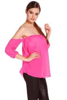 Long Sleeve Off Shoulder Blouse (Pink) - picture 2
