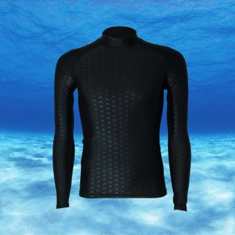 Long Sleeve Rashguard For Men Surf Tops Swimsuit Rash Guard Swimwear Printing Swimming Shirt (Black with black thread) - intl
