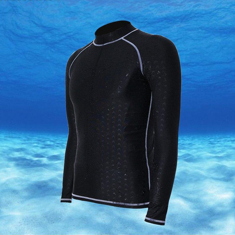 ... Long Sleeve Rashguard For Men Surf Tops Swimsuit Rash GuardSwimwear Printing Swimming Shirt (Black with ...