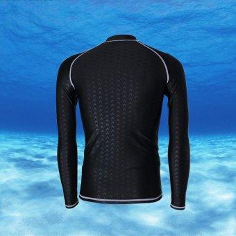 Long Sleeve Rashguard For Men Surf Tops Swimsuit Rash GuardSwimwear Printing Swimming Shirt (Black with grey thread) - intl - 5