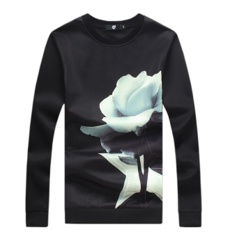 Long Sleeve Rose Printed Men Pullover Sweatshirt (Black) - Intl
