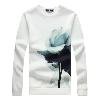 Long Sleeve Rose Printed Men Pullover Sweatshirt (White) - Intl