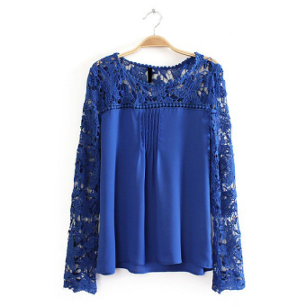 Long Sleeve Women Chiffon Blouse Shirts (Blue)