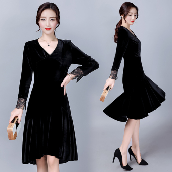 Long-sleeved elegant Slim fit irregular medium-length dress velvet dress