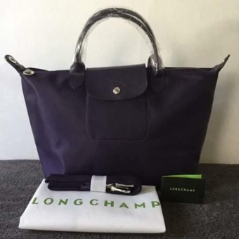 Longchamp Medium Nylon Tote Bag From Italy DARK VIOLET