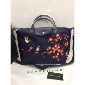 LONGCHAMP NEO LOVE BIRDS EMBROIDERED ROBIN MEDIUM NAVY BLUE SHORTHANDLE Price Philippines