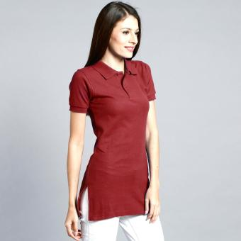 Longline Polo Shirt with Side Slit for Ladies (Maroon)