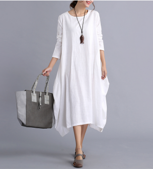 LOOESN artistic cotton linen breathable slimming long-sleeved dress cotton linen dress (White)