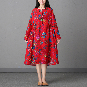 LOOESN artistic cotton linen Plus-sized mid-length A-line dress Dress (Red)