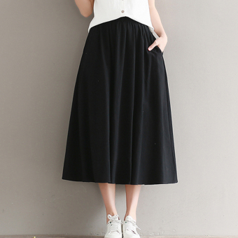 LOOESN artistic cotton linen student expandable half-length skirt pleated skirt (Black)