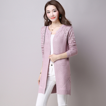 LOOESN autumn New style thin knit shirt cardigan (Light purple color)