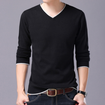 LOOESN casual cotton solid color small base shirt T-shirt (Black 216 long-sleeved v-neck)