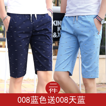 LOOESN casual men's summer Plus-sized pants shorts (008 blue to send sky blue)