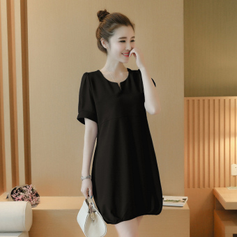 LOOESN child short sleeved chiffon dress A-line dress (Black)