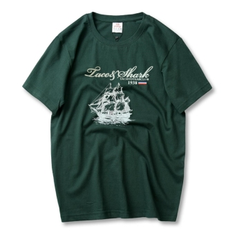 LOOESN cotton Plus-sized T-shirt (Dark green color Grand Boat)