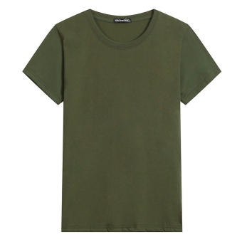 LOOESN cotton round neck Plus-sized base shirt T-shirt (Solid color dark green color)