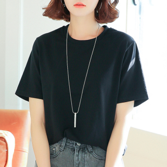 LOOESN cotton solid color female v-neck base shirt white short sleeved t-shirt (Black [round neck 01001])