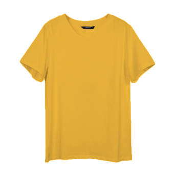 LOOESN cotton solid color female v-neck base shirt white short sleeved t-shirt (Ginger yellow)