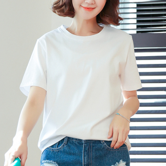 LOOESN cotton solid color female v-neck base shirt white short sleeved t-shirt (White [round neck 01001])