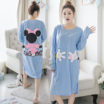 LOOESN cute female cotton long-sleeved Spring and Autumn pajamas lingerie (053 # Mickey hand blue)