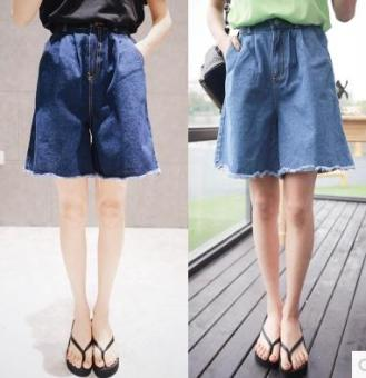 LOOESN elastic waist high-waisted shorts (Dark blue color)