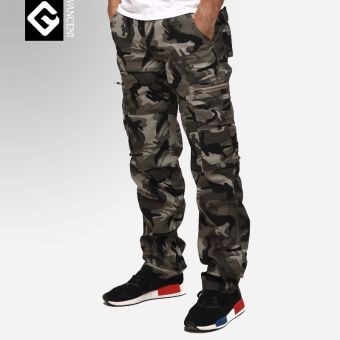 LOOESN European and American Nepalese men camouflage multi-with pockets pants tooling pants (Navy gray)