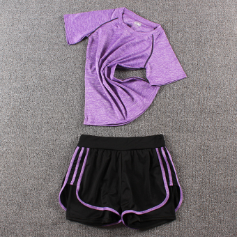 LOOESN female fitness room running pants yoga clothes (Colorful t purple + three side shorts purple)