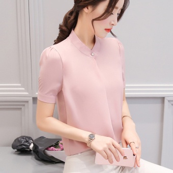 LOOESN female long-sleeved New style student chiffon Shirt shirt (Leather pink (short sleeved))