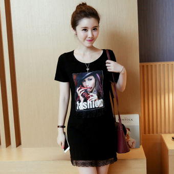 LOOESN female mid-length short sleeved t-shirt (Black)