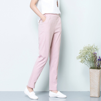LOOESN high-waisted slimming pants casual pants (Lotus pink)