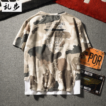 LOOESN hip hop summer camouflage men's short sleeved t-shirt (567 camouflage stitching short sleeved white)
