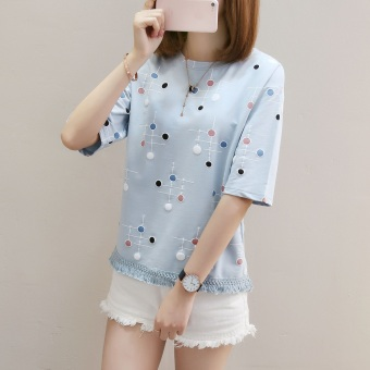LOOESN indie short sleeved female Top sweet Top (Blue)