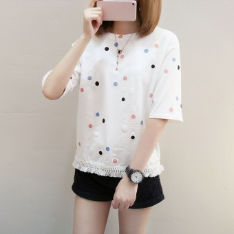 LOOESN indie short sleeved female Top sweet Top (White)