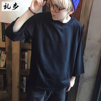 LOOESN Jianyue solid youth Capri half-sleeve shirt bottoming shirt T-shirt (516 three-quarter-length sleeve black)