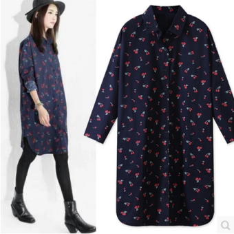LOOESN Korean Spring and Autumn New style Plus-sized shirt dress (Dark blue color)