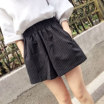 LOOESN Korean-style black female summer culottes striped shorts (Black)