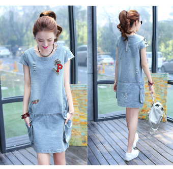 LOOESN Korean-style casual short sleeved dress with holes denim dress