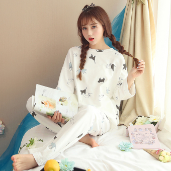 LOOESN Korean-style cotton female long-sleeved tracksuit pajamas (09_WY9111 # Cat white)