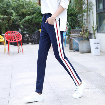 LOOESN Korean-style cotton female straight sweatpants casual I pants (Sapphire blue color)
