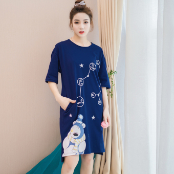 LOOESN Korean-style cotton female student pajamas summer nightgown (1104 polar bear lingerie)