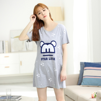 LOOESN Korean-style cotton Female Summer pajamas lingerie (Gray Star luck dress)
