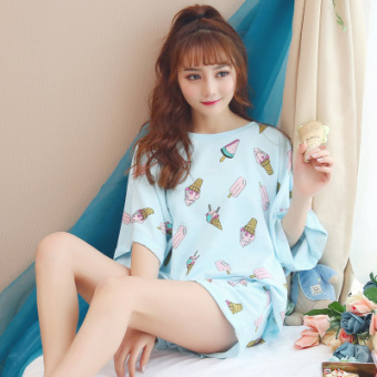 LOOESN Korean-style cotton Female Summer tracksuit pajamas (8016 ice cream blue)