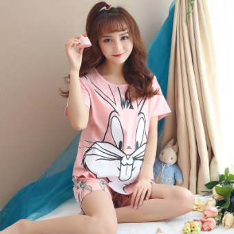 LOOESN Korean-style cotton Female Summer tracksuit pajamas (H3305 pink Bugs Bunny)