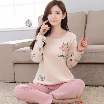 LOOESN Korean-style cotton girl's Spring and Autumn tracksuit pajamas (5574 # small doll)