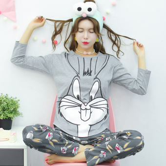 LOOESN Korean-style cotton girl's Spring and Autumn tracksuit pajamas (L5822 # gray bugs bunny)